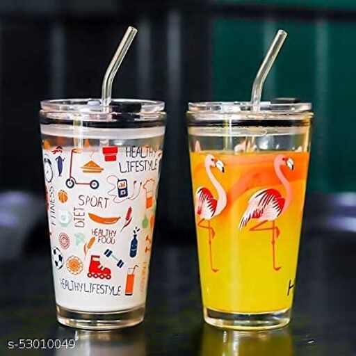 Tumbler Glass with Straw pack of 2