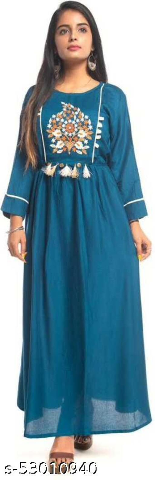 EBBANI TEAL GOWN
