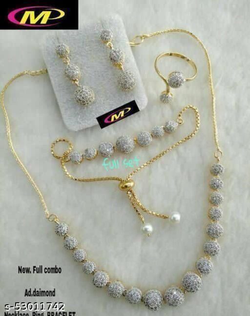 Alloy Designer Gold Plated Combo Set(1 Necklace, 2 Earrings,1 Free Size Bracelet, 1 Free Size Ring)
