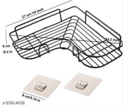 Self-Adhesive Bathroom Corner Rack Storage Shelves, Bathroom Storage Rack Corner, Stainless Steel Bathroom Corner Stainless Steel Wall Shelf Stainless Steel Wall Shelf  (Number of Shelves - 1, Black)