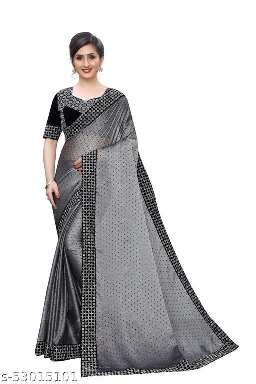 Women's Bollywood Designer Grey Colored Satin Chiffon Party Wear Saree