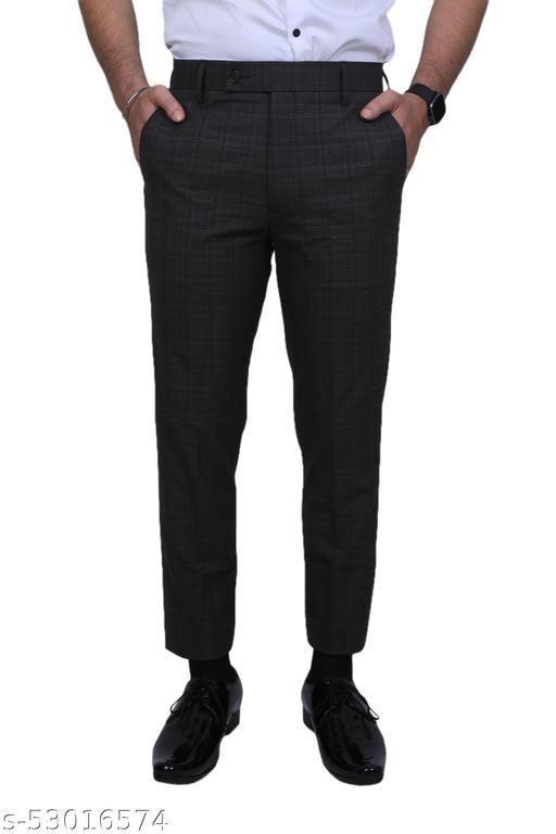 El Cielo Grey Checkered PV Bi-Stretch Formal Trouser