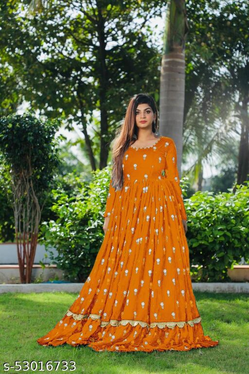 NEW Georgette Full Stitched Anarkali Gown with digital printed