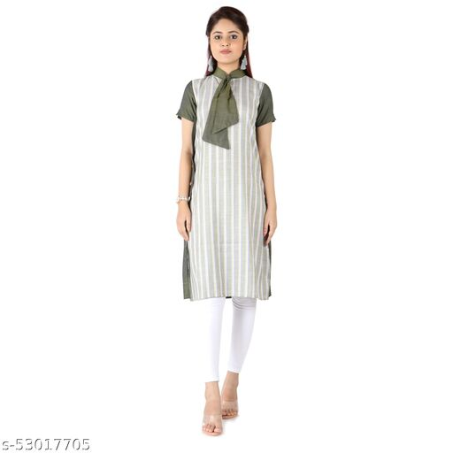Videshini Polyester Tie Neck Olive Kurti with Short Sleeves, A-line fit and Solid with Lines Print