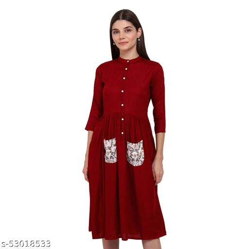 Maroon Solid Fit & Flare Western Dress With Pockets