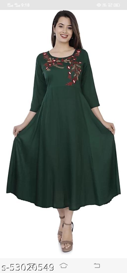 Dark green Embroidred Dresses
