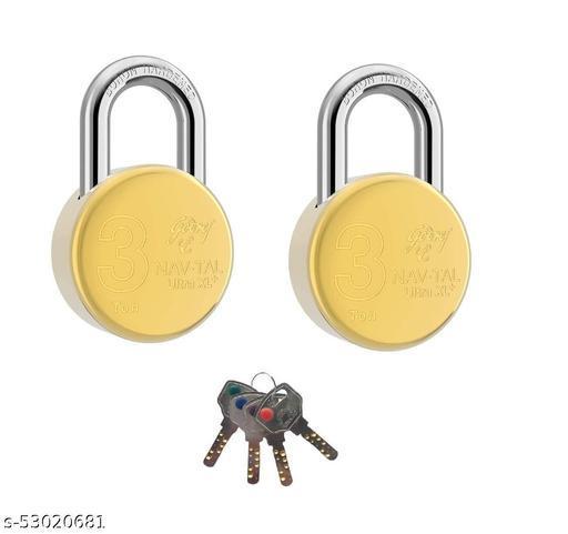 NAVTAL Ultra XL+ Brass Padlock Pack of 2 with 4 Common Keys Lock (Golden)