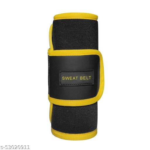 Sweat Slim Belt For Man And Women Fat Burning Sauna Waist Trainer - Promotes Healthy Sweat, Weight Loss, Lower Back, Jogging, Back Support ( Color Yellow Black)