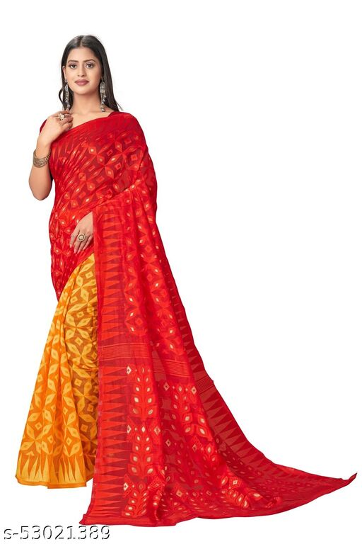 Women's Pure Cotton Silk Saree With Blouse Piece 2021