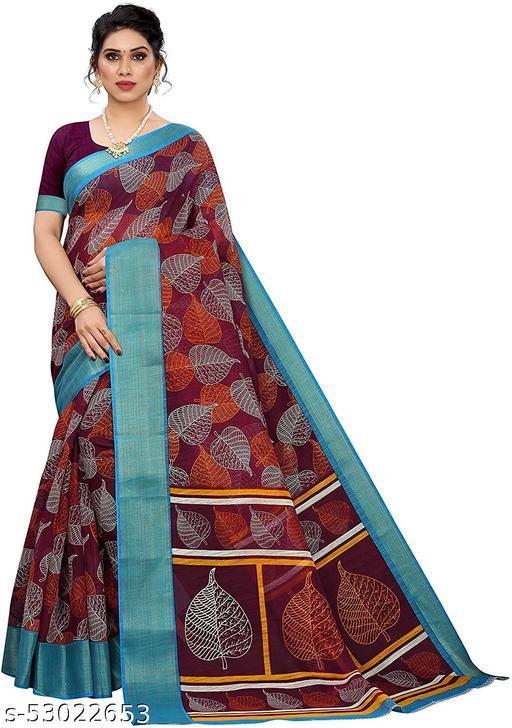 Dutt Textile Women's Linen Saree With Satin Patta With Blouse Piece
