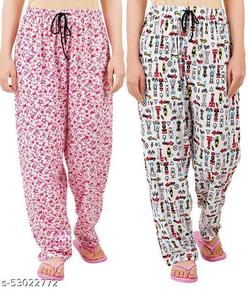 PJ33 Women Cotton Pyjama Multicolor Pack Of 2