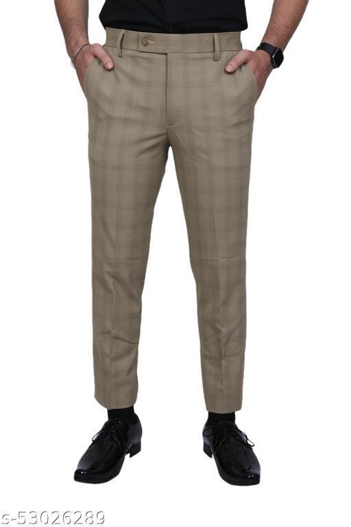 El Cielo Golden Checkered PV Bi-Stretch Formal Trouser
