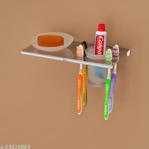 REALCOIN ,Stainless Steel 2 in 1 Bathroom Shelf shop dish/ toothbrush Holder , / Tumbler Holder / toothbrush Holder / Liquid Dispenser / Soap Dispenser With Toothpaste Holder / Bathroom Accessories / Bathroom Organizer Stainless Steel Wall Shelf