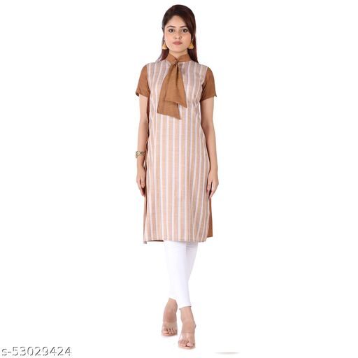 Videshini Tie Neck Brown Kurti with Short Sleeves, A-line fit and Solid with Lines Print