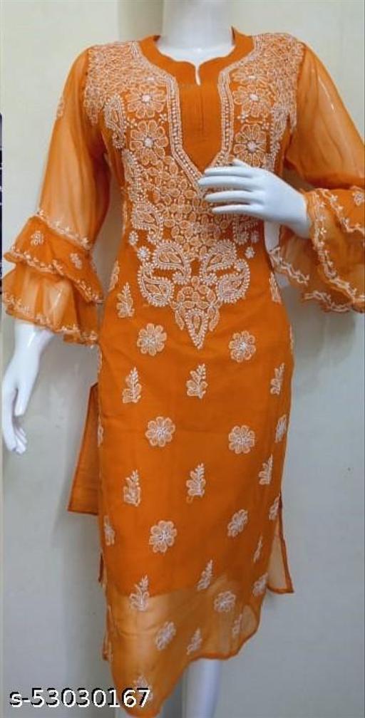 Chikankari Chiffon dense designed Kurti with Matching Cotton Inner.