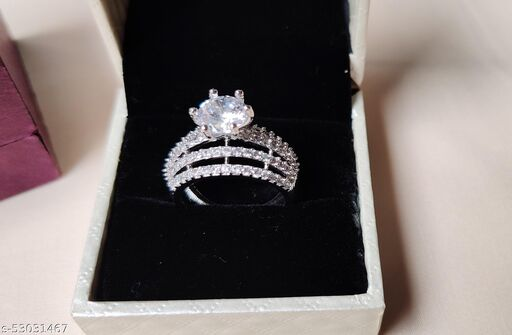 Special Big Silver AAA Solitaire CZ Platinum Plated Finger Ring for Women