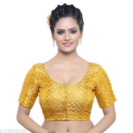 MADHU FASHION Brocade Short Sleeves Readymade Saree Blouse