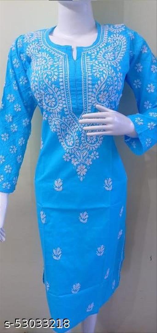 Latest & Trendy Lucknow Women's Chikankari Chiffon solid designed Kurti