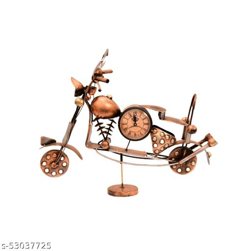 INDIAN CRAFT HOUSE Iron Bike with Stand with Watch for Home Decor (Copper)