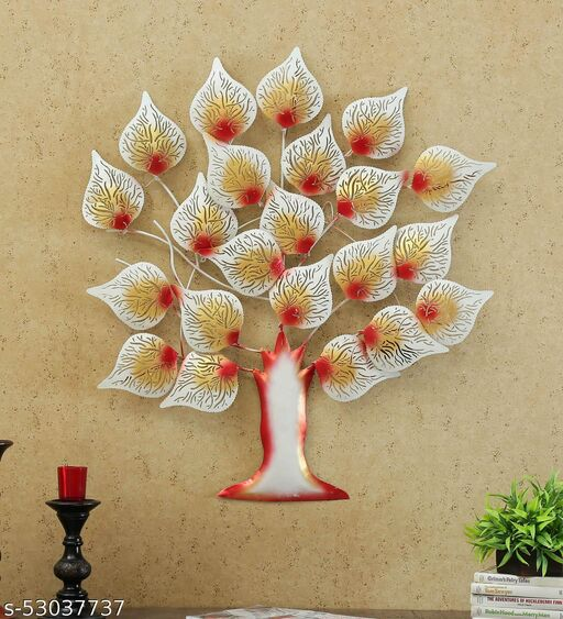 INDIAN CRAFT HOUSE Iron White Tree Showpiece for Home Decor with Led (White)