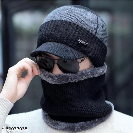 Men's Woollen Fleece Knitted Fur Inside Soft Imported Warm Snow and Air Proof Hat Style Beanie Winter Cap with Scarf (Black)
