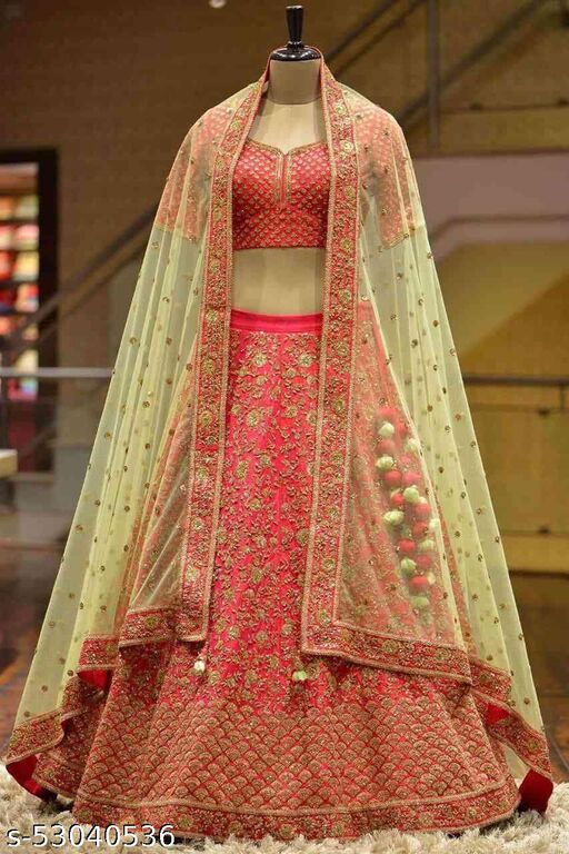 Outstanding Red Colored Partywear Designer Embroidered Malay Satin Silk Lehenga Choli