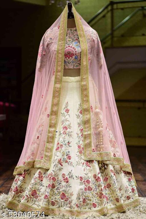 Beautiful Off White Colored Designer Partywear Embroidered Work satin Material Lehenga Choli LC 168
