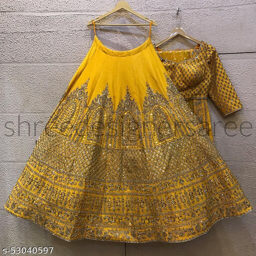 Yellow Embroidered Attractive Party Wear Malay satin Material With Stone work Lehenga Choli LC 293
