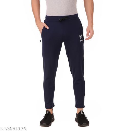 flyker mens regular fit 4waylycra trackpants - navyblue