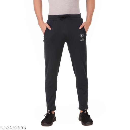 flyker mens regular fit 4waylycra trackpants - steelgrey