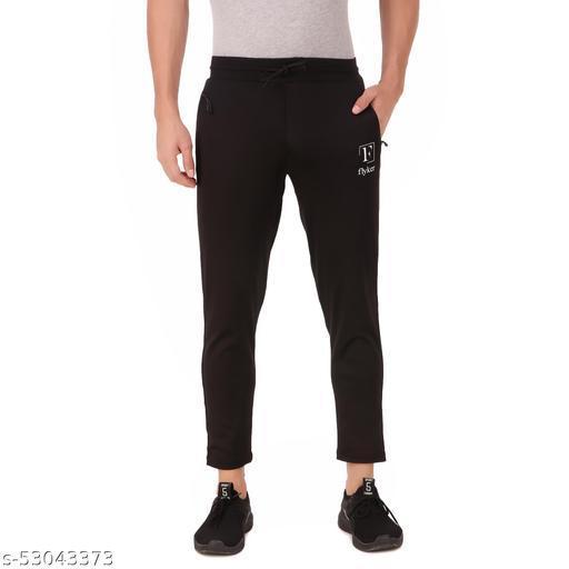 flyker mens regular fit 4waylycra trackpants - black  Track Pants