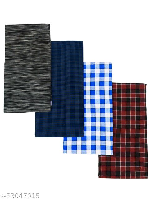 SAT Multi Color Cotton Lungi For Men's Combo Of 4