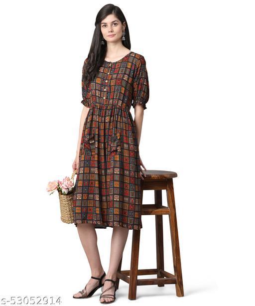 Oooh Lady Fashion Womens Rayon Western Colour Blocks  Designer Dress