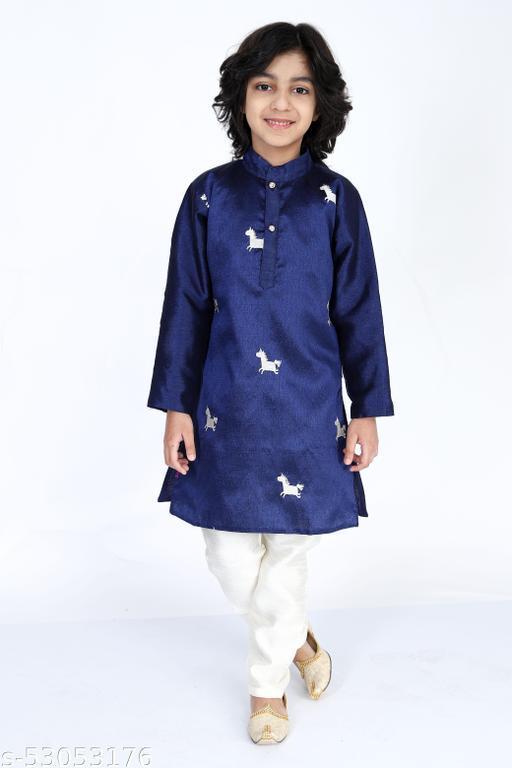 Vesham Cotton Silk Kurta Pajama Set For Boys Kids   Sherwani Style Kurta Paijama