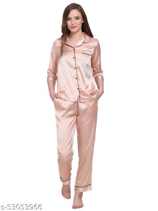 KASHANA Women's Polyester Peach Printed 3/4 Sleeve Shirt Pyjama Set PJ Set