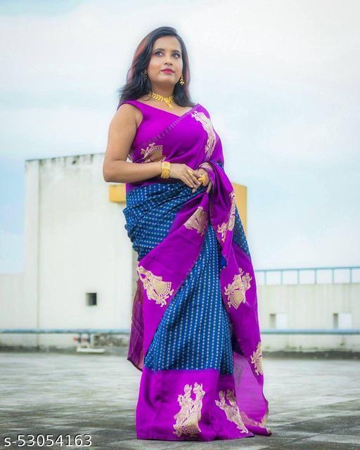 Enchanting Yet Breathable  Banarasi Sarees With Dark Blue Color and Gold Zari Butti By Karuna Sagar Creation
