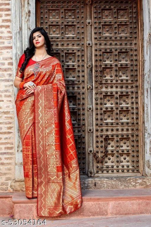Breathable Organic Banarasi Sarees With Red & Orange Combination Flower Design By Karuna Sagar Creation