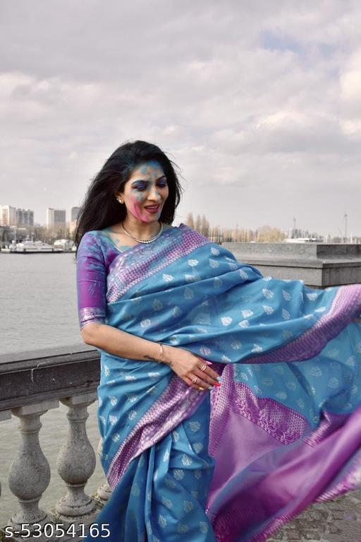 Organic Soft Lichi Silk Sky Blue Saree With Pan Design and Solid Pallu By Karuna Sagar Creation