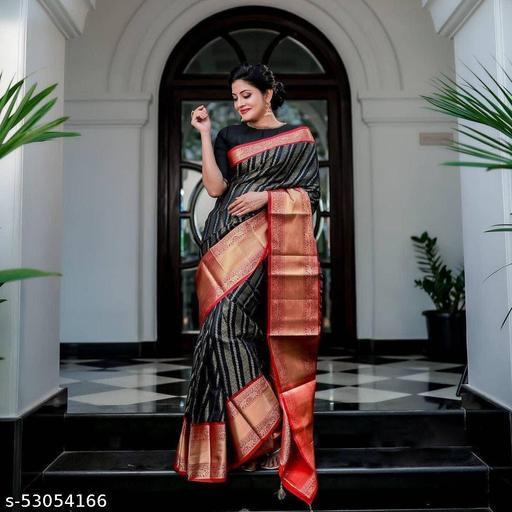 Soft Lichi Silk Saree With Contrasting Red Banarasi Golden Zari Border By Karuna Sagar Creation