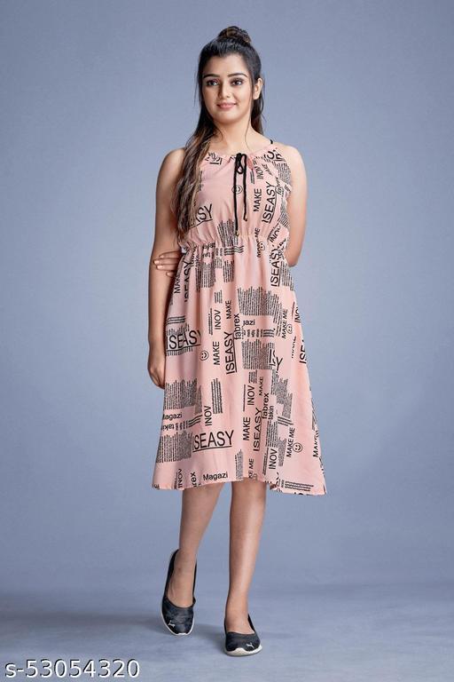 R Taze Women's One Piece Knee Length Western Printed Sleeveless Round Neck Magzine Print Crepe Dress