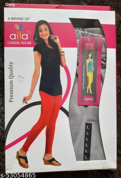 Aila Premium Cotton Lycra Leggings Grey