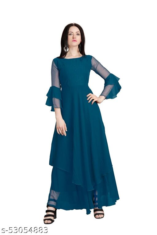 Women Partywear Georgette Long Layered Full Stitched Maxi Dress