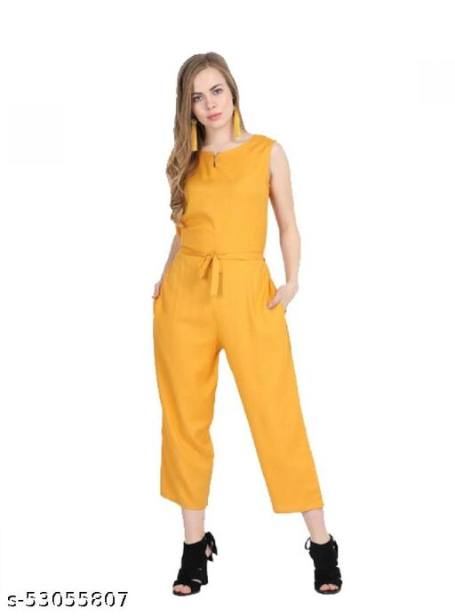 Surge21 Womens Yellow Jumpsuit with waist band, round neck, regular fit with 2 Pockets