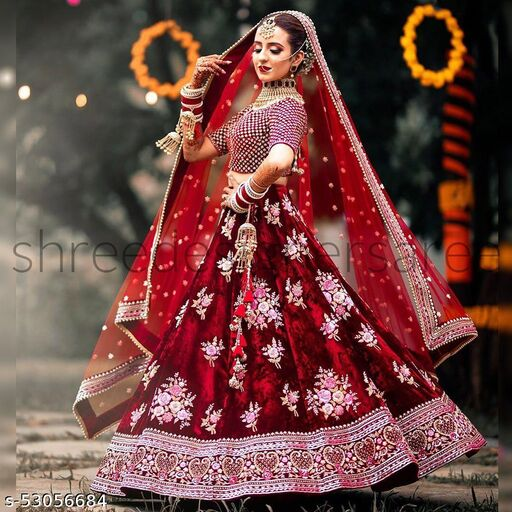 RED Designer Partywear Embroiderd Work With Velvet Lehenga Material including Boluse and Net dupatta Lehenga Choli - LC 319