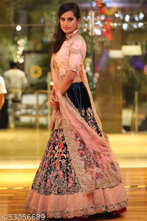 Peach And Blue Colored Dupatta Partywear Designer Embroidered Lehenga Choli-LC273