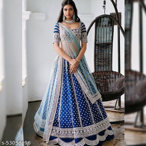 Blue Designer Partywear Embroiderd Work With Velvet Fabric lehenga including Malay satin blouce and Net Dupatta material Lehenga Choli - LC 20