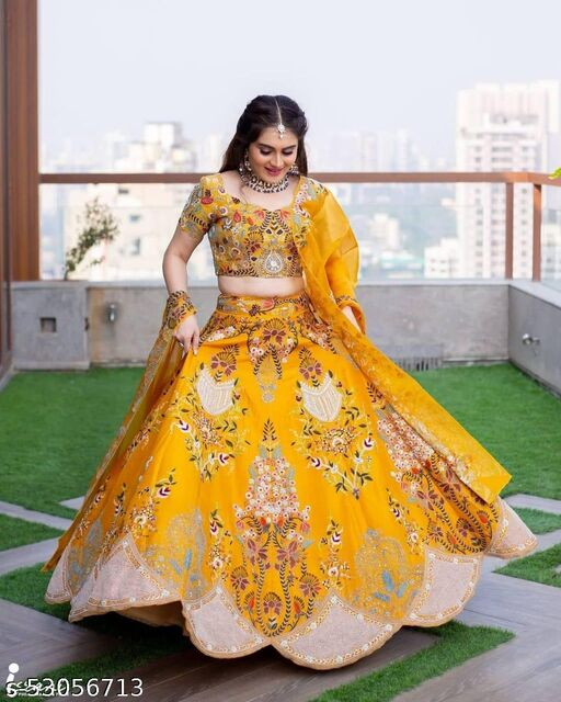 Yellow Designer Embroiderd Work With malay satin material with Blouse and Dupatta Lehenga Choli - LC 10