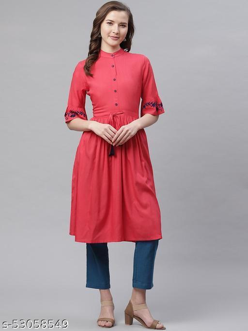 Aprique FAB  Women Embroidered, Solid, Self Design Rayon Anarkali Kurtis