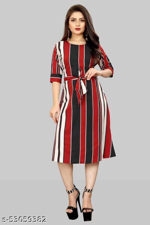 BLACKBIRD Women A-line Red, Black, White Dress