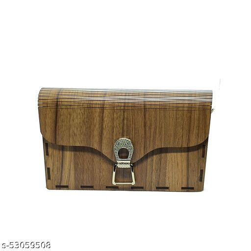 Arjey's Wooden Dark Brown Rectangle Sling Wooden Mobile Clutches (AJ_Clutches_005_Dark Brown)